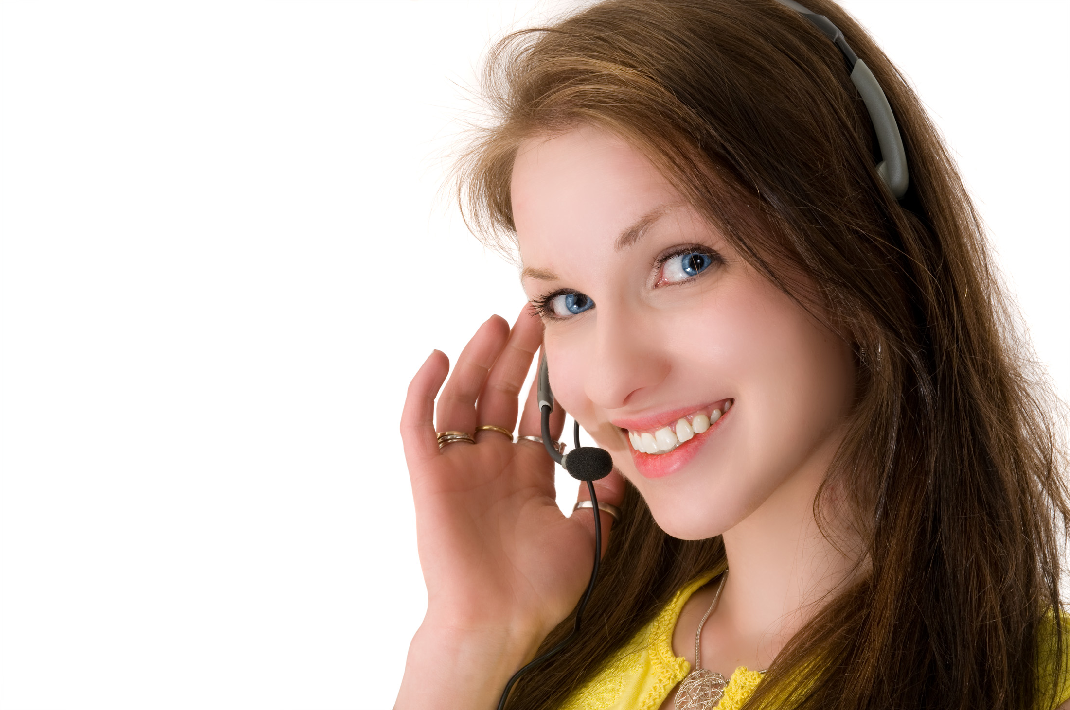 Woman talking on phone headset