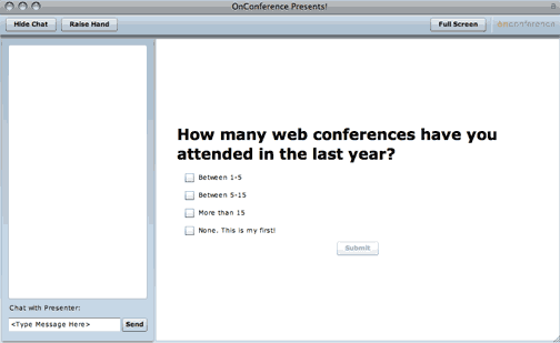 screenshot of web conference poll