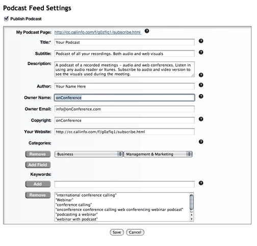 web conference call podcast feed settings